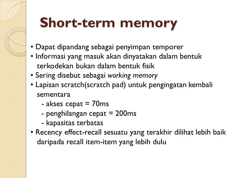 Short-term memory • Dapat dipandang sebagai penyimpan temporer