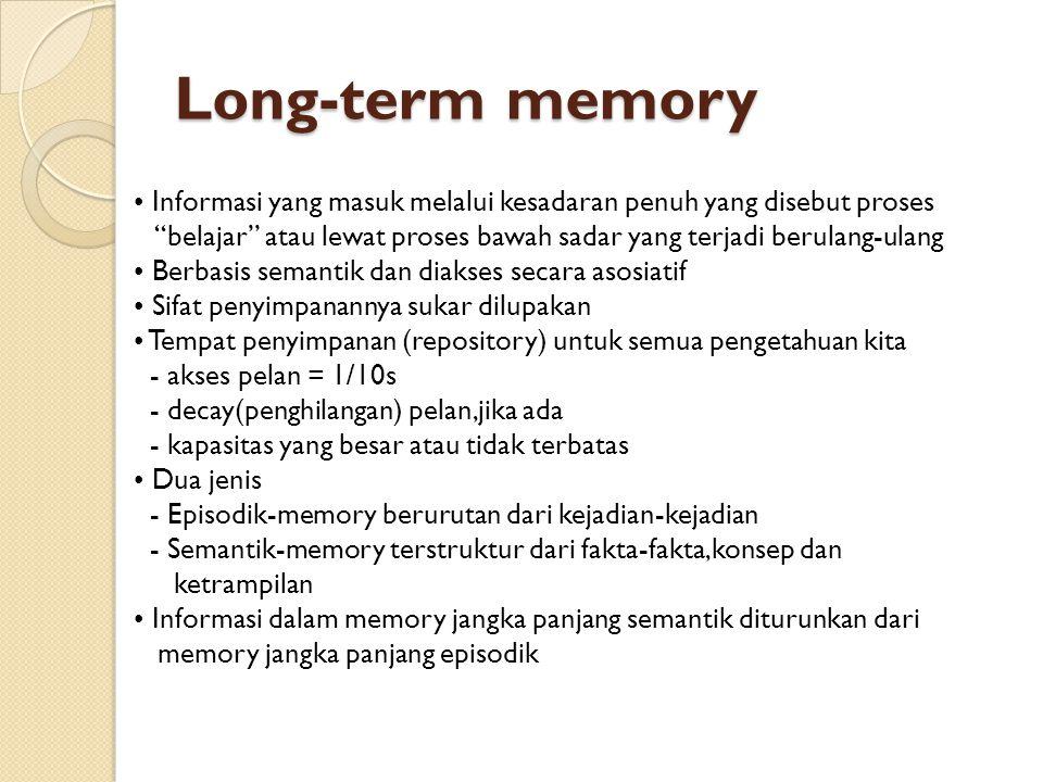 Long-term memory • Informasi yang masuk melalui kesadaran penuh yang disebut proses.