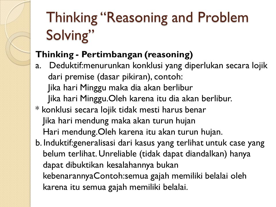 Thinking Reasoning and Problem Solving