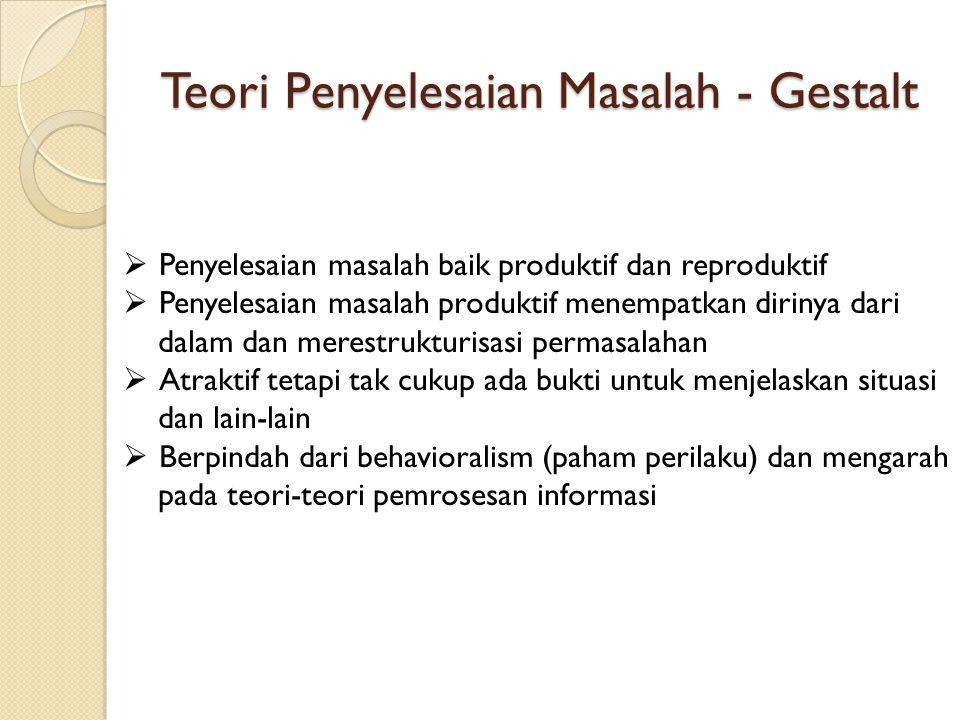Teori Penyelesaian Masalah - Gestalt