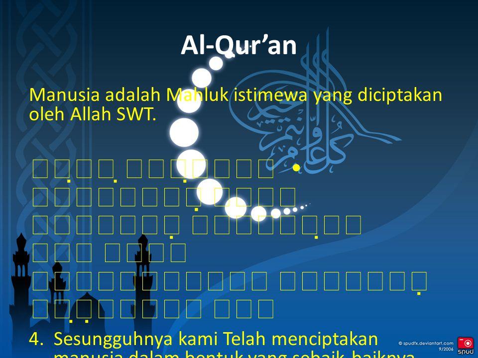 Al-Qur'an Manusia adalah Mahluk istimewa yang diciptakan oleh Allah SWT.