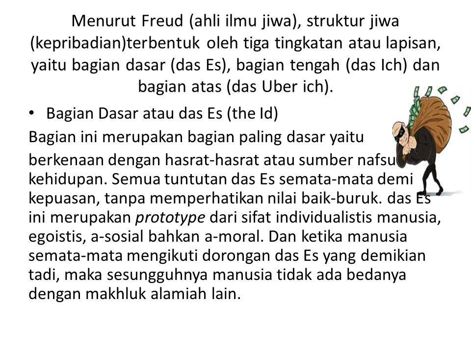 Menurut Freud (ahli ilmu jiwa), struktur jiwa (kepribadian)terbentuk oleh tiga tingkatan atau lapisan, yaitu bagian dasar (das Es), bagian tengah (das Ich) dan bagian atas (das Uber ich).