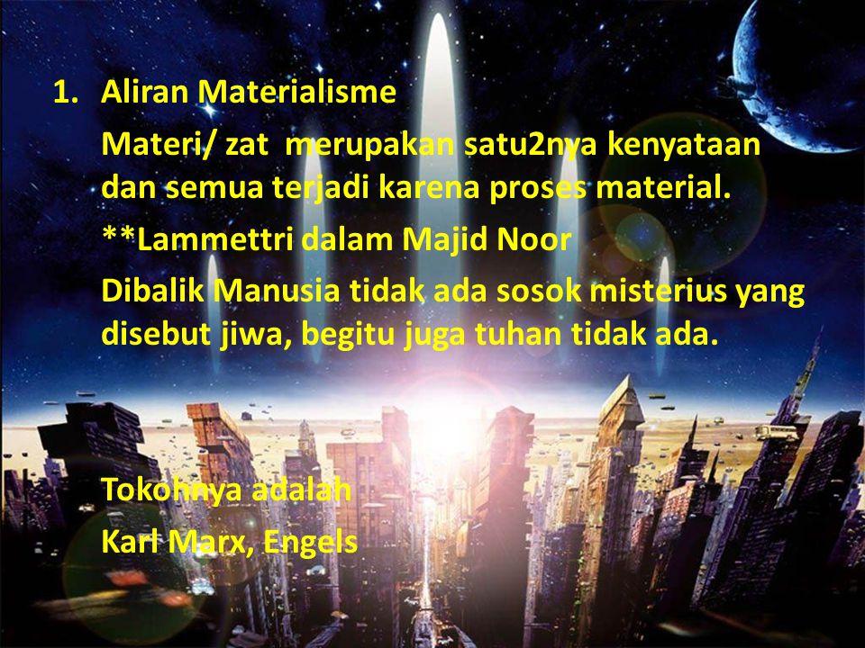 Aliran Materialisme Materi/ zat merupakan satu2nya kenyataan dan semua terjadi karena proses material.