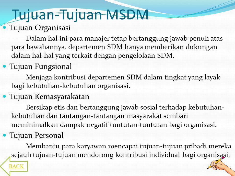 Tujuan-Tujuan MSDM Tujuan Organisasi Tujuan Fungsional