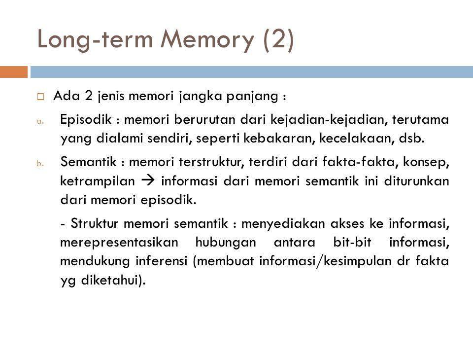 Long-term Memory (2) Ada 2 jenis memori jangka panjang :