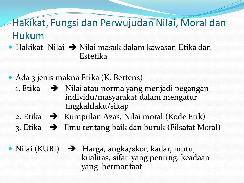 Hakikat, Fungsi dan Perwujudan Nilai, Moral dan Hukum
