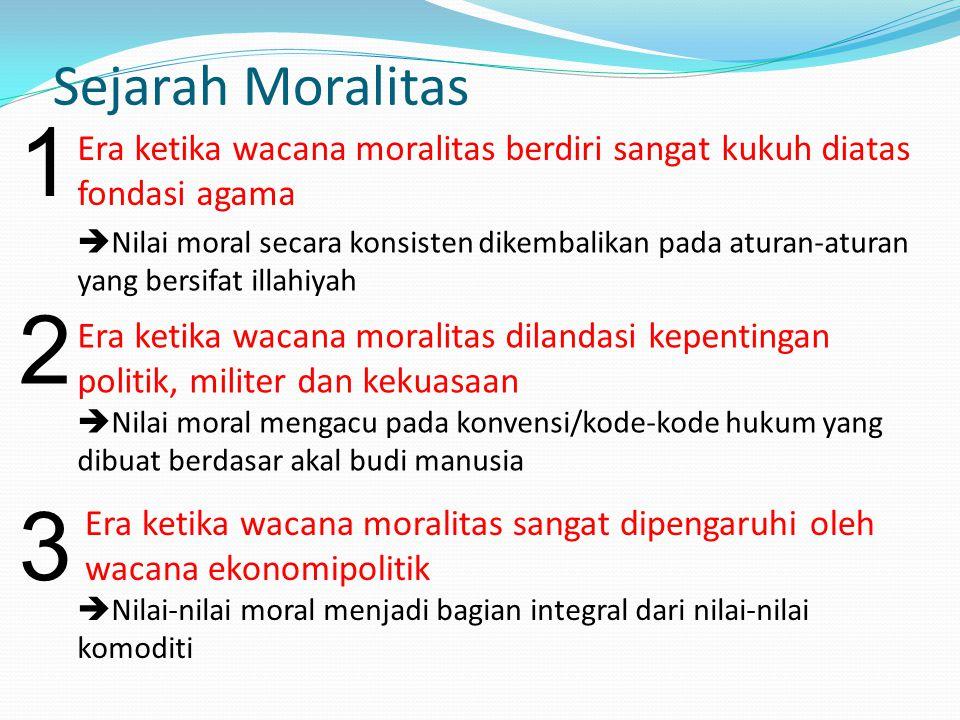 Sejarah Moralitas 1. Era ketika wacana moralitas berdiri sangat kukuh diatas fondasi agama.