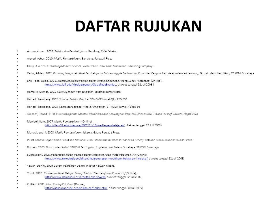 DAFTAR RUJUKAN Aunurrahman. 2009. Belajar dan Pembelajaran. Bandung: CV Alfabeta.