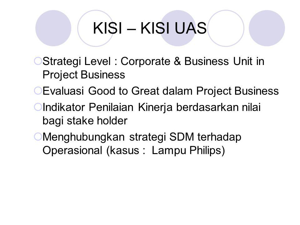 KISI – KISI UAS Strategi Level : Corporate & Business Unit in Project Business. Evaluasi Good to Great dalam Project Business.