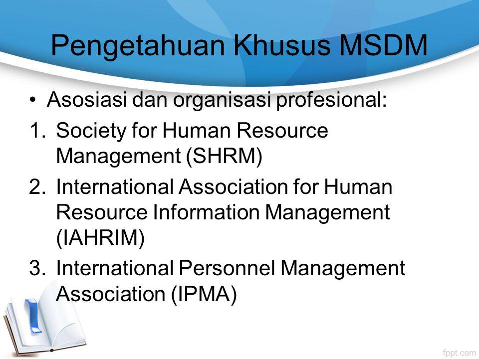Pengetahuan Khusus MSDM