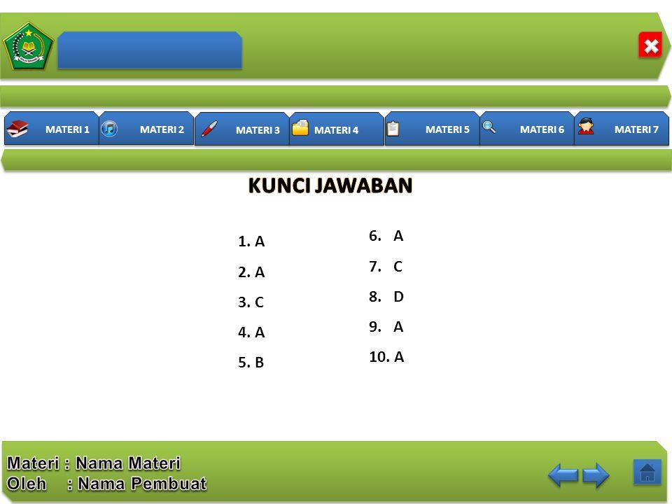KUNCI JAWABAN 6. A 7. C 8. D 9. A 10. A 1. A 2. A 3. C 4. A 5. B