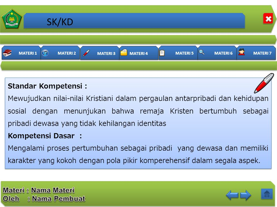 SK/KD Standar Kompetensi :