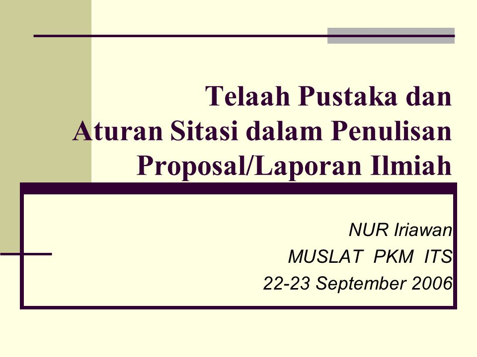 NUR Iriawan MUSLAT PKM ITS 22-23 September 2006