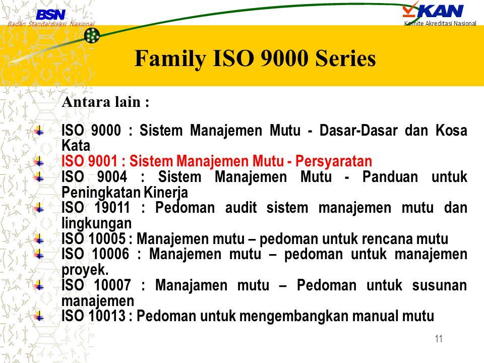 Family ISO 9000 Series Antara lain :