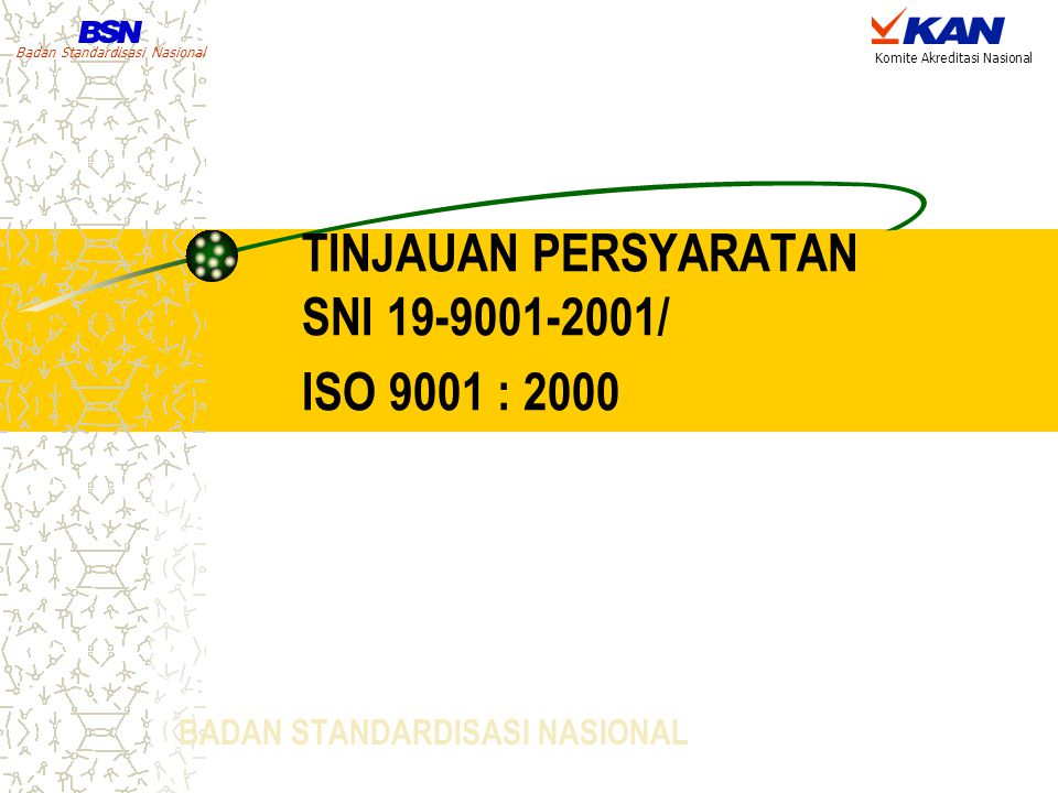 TINJAUAN PERSYARATAN SNI 19-9001-2001/ ISO 9001 : 2000