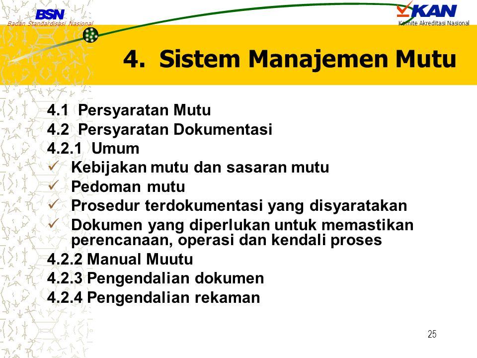 4. Sistem Manajemen Mutu 4.1 Persyaratan Mutu