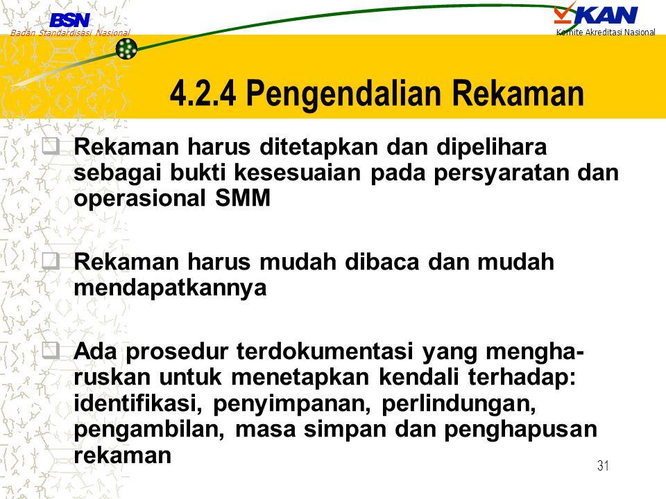 4.2.4 Pengendalian Rekaman Rekaman harus ditetapkan dan dipelihara sebagai bukti kesesuaian pada persyaratan dan operasional SMM.