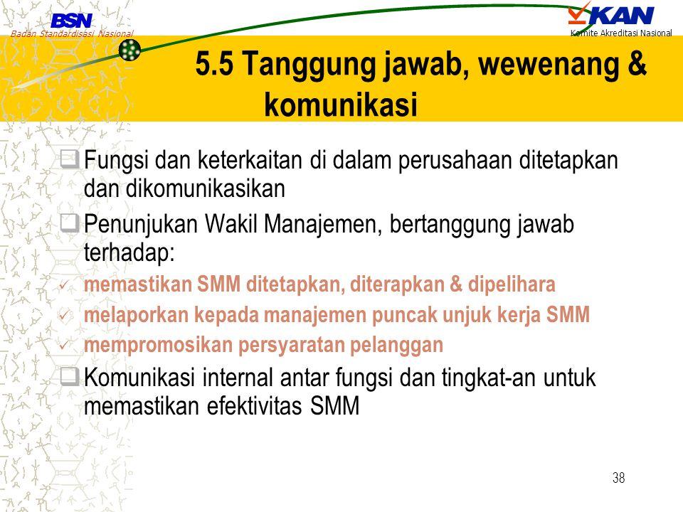 5.5 Tanggung jawab, wewenang & komunikasi