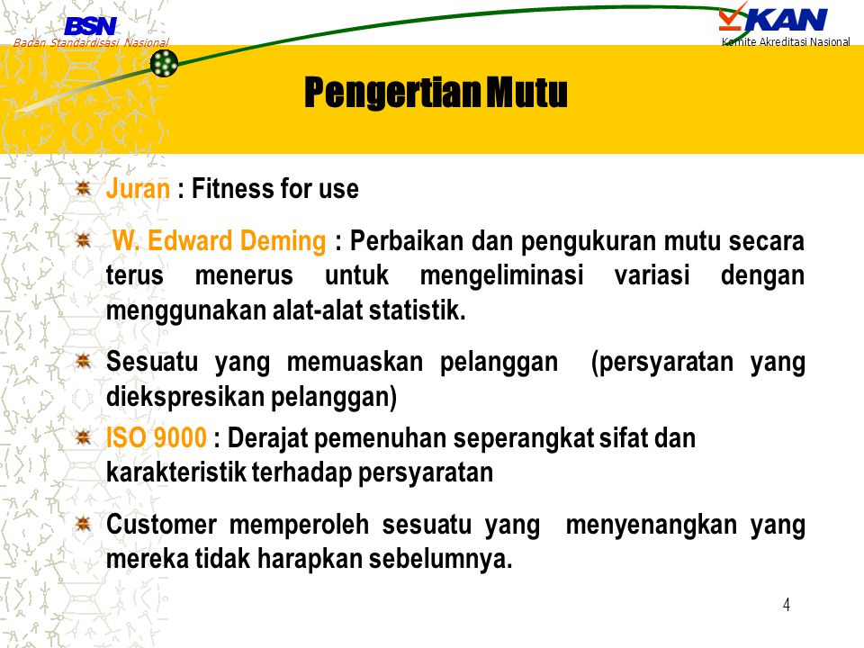 Pengertian Mutu Juran : Fitness for use