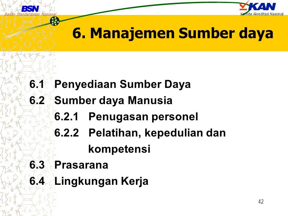 6. Manajemen Sumber daya 6.1 Penyediaan Sumber Daya