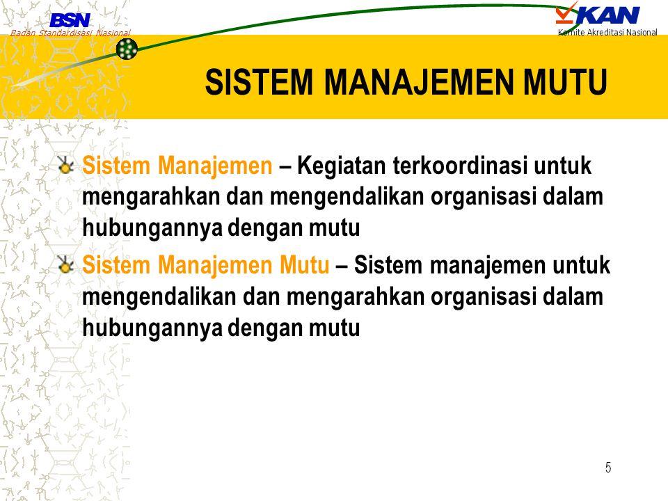 SISTEM MANAJEMEN MUTU Sistem Manajemen – Kegiatan terkoordinasi untuk mengarahkan dan mengendalikan organisasi dalam hubungannya dengan mutu.