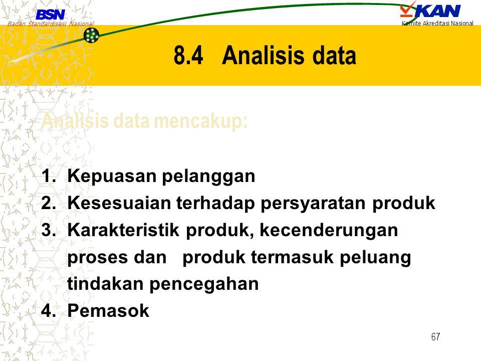 8.4 Analisis data Analisis data mencakup: 1. Kepuasan pelanggan