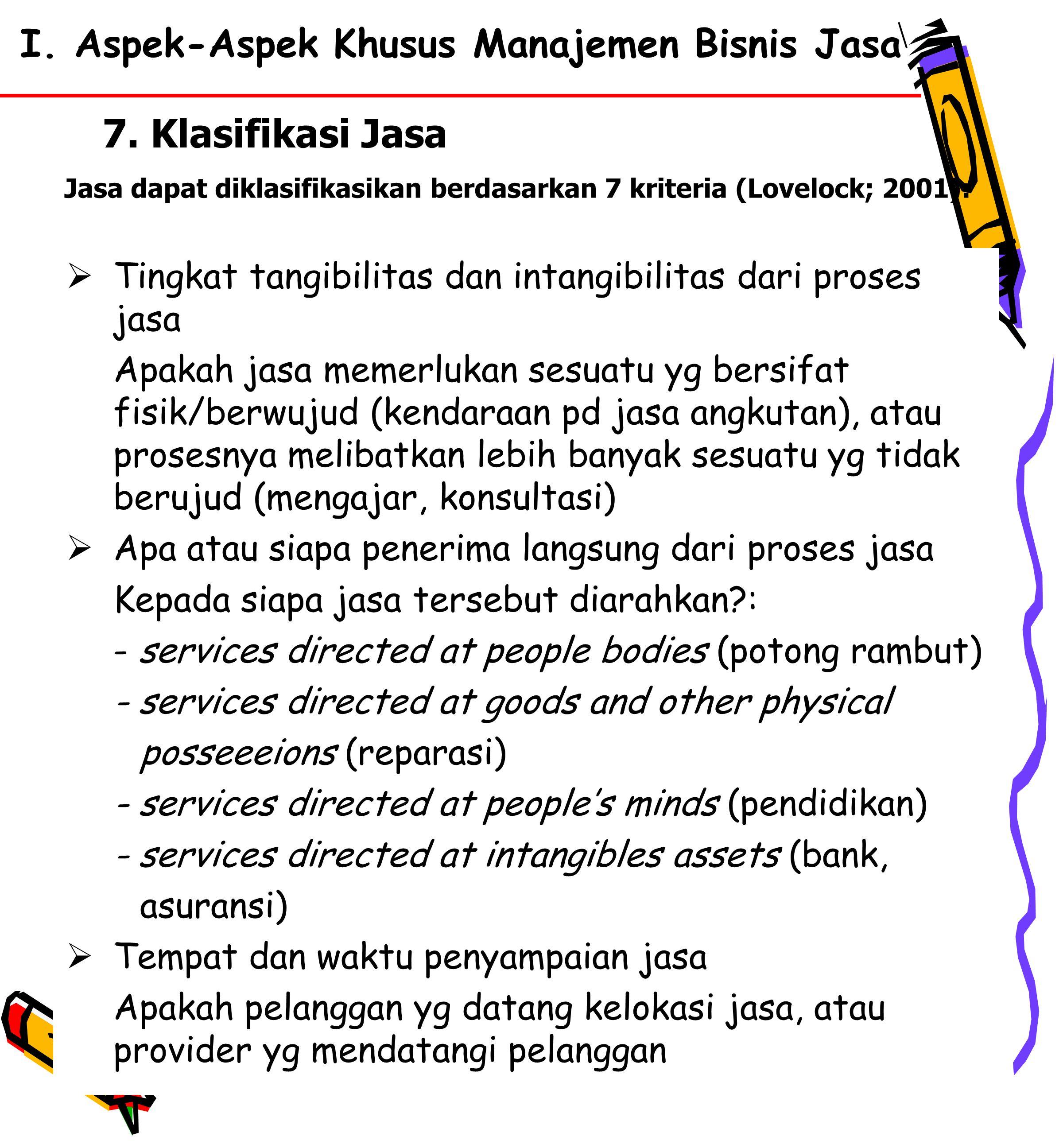 I. Aspek-Aspek Khusus Manajemen Bisnis Jasa