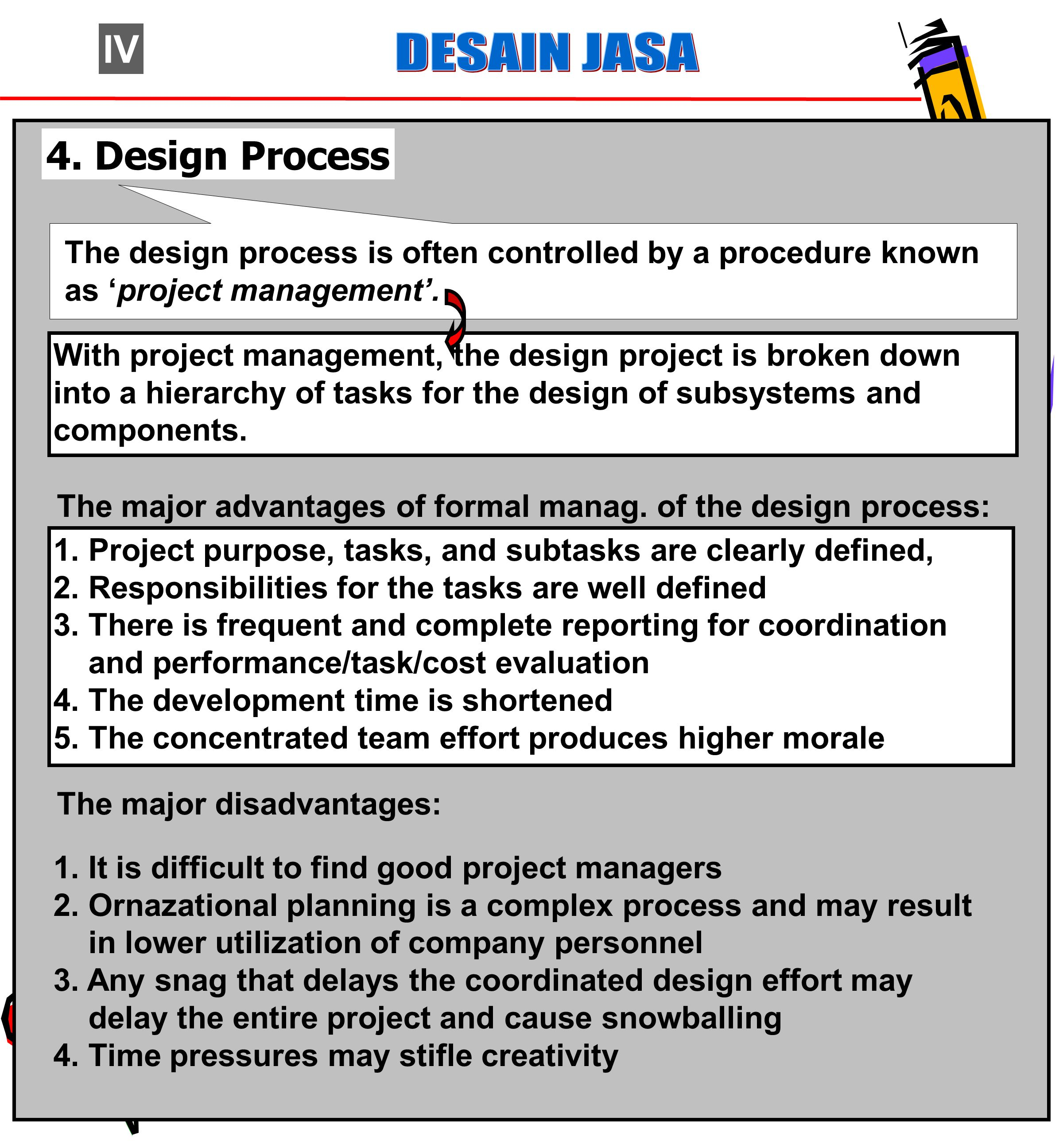 IV DESAIN JASA. 4. Design Process. The design process is often controlled by a procedure known as 'project management'.