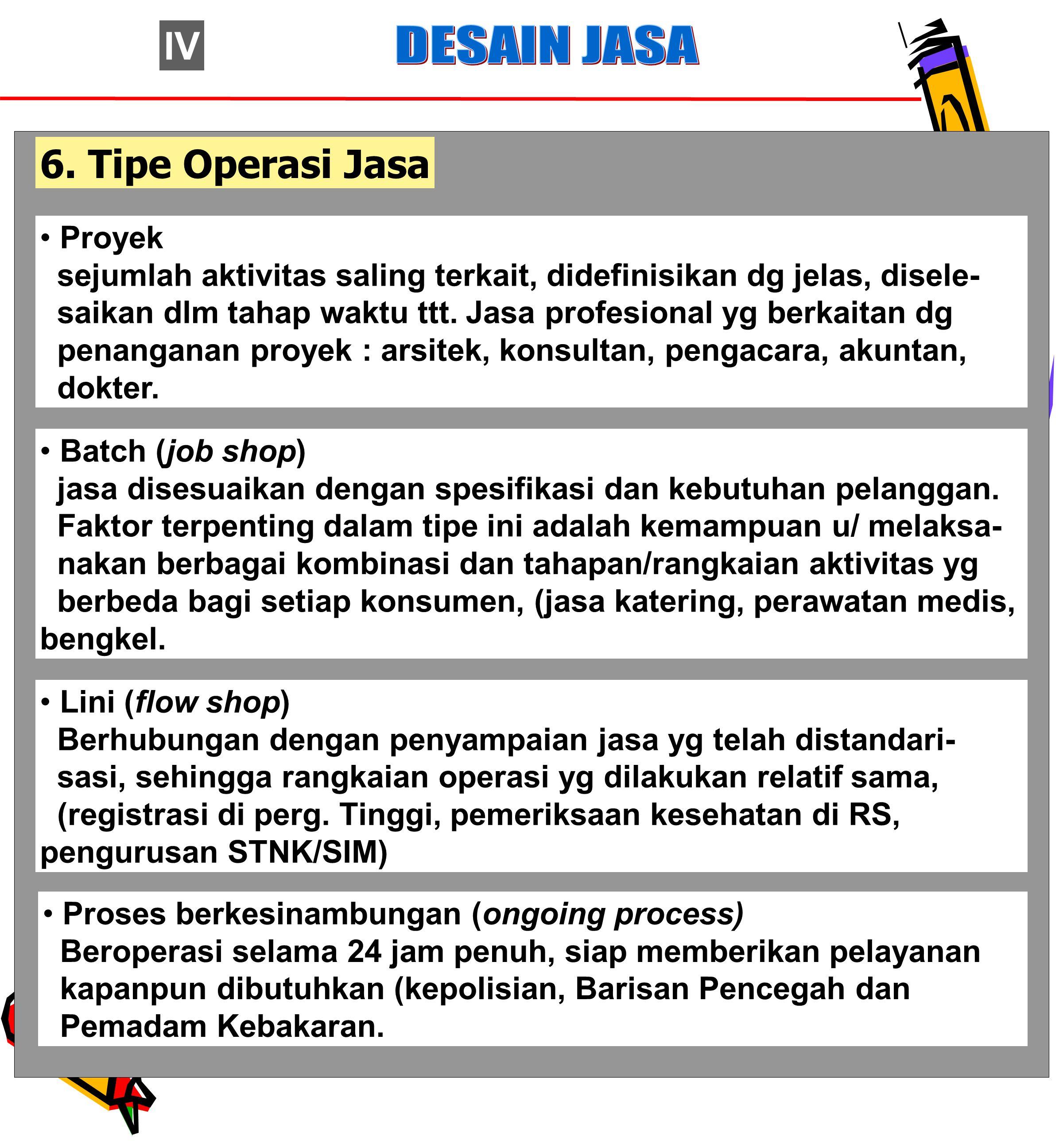 6. Tipe Operasi Jasa IV Proyek