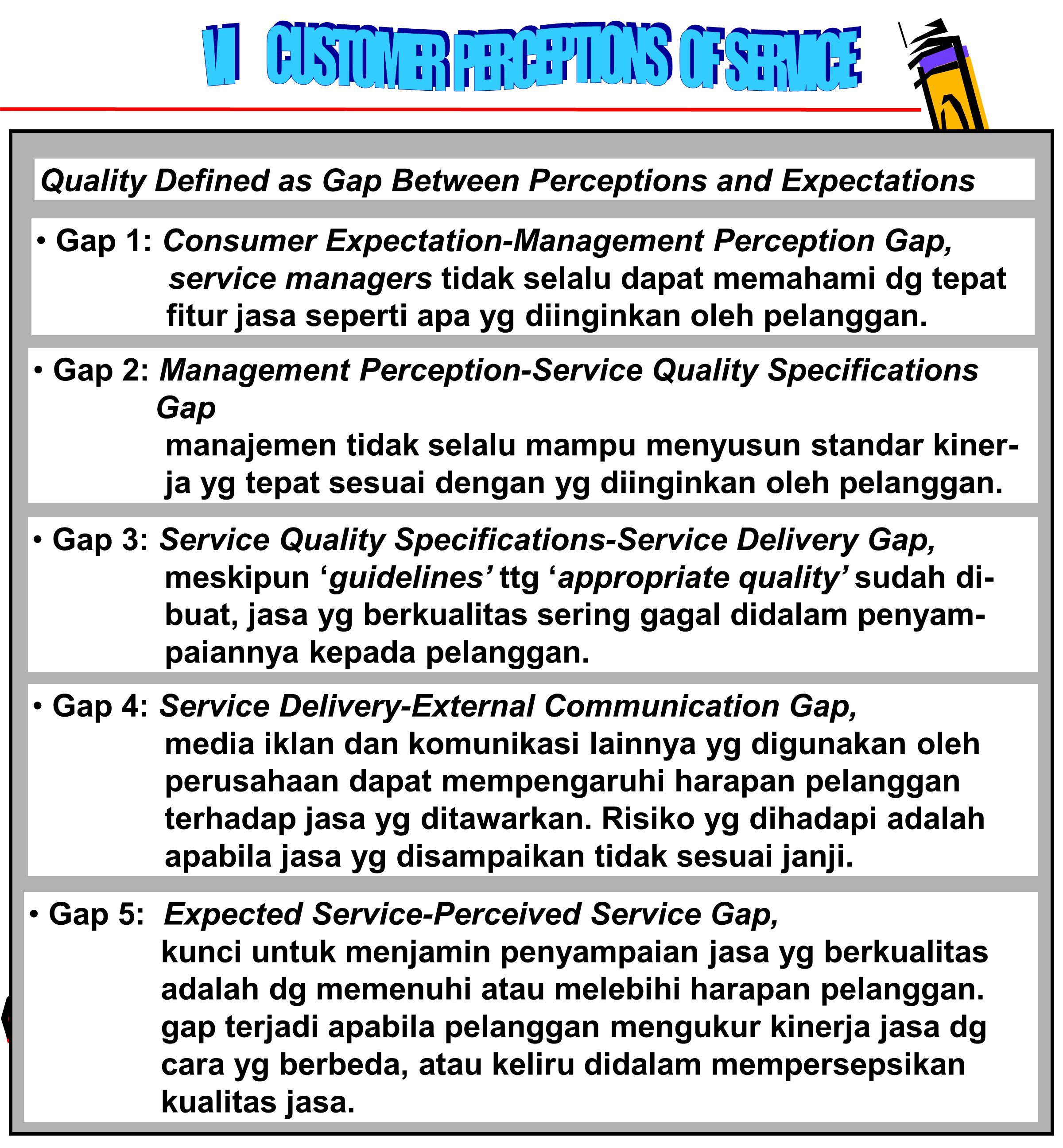 VI CUSTOMER PERCEPTIONS OF SERVICE