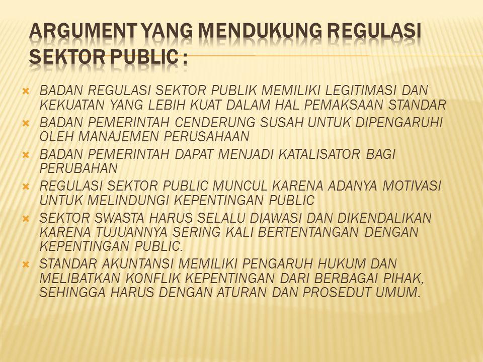 Argument yang mendukung Regulasi sektor public :