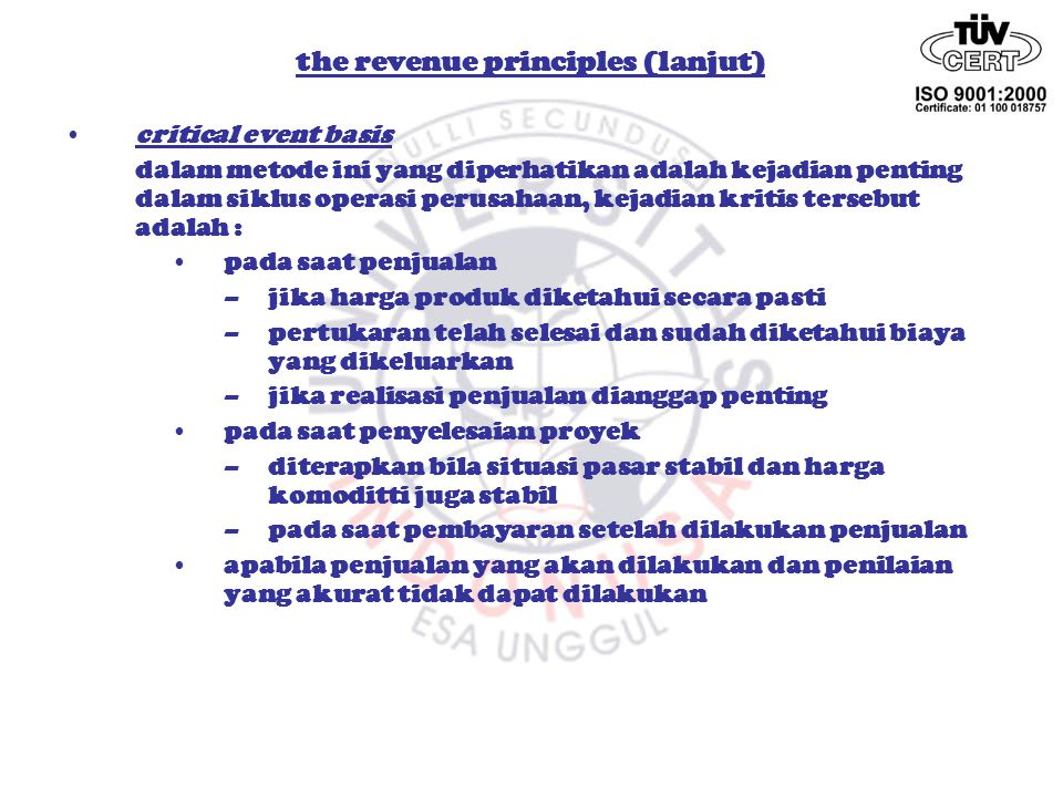 the revenue principles (lanjut)