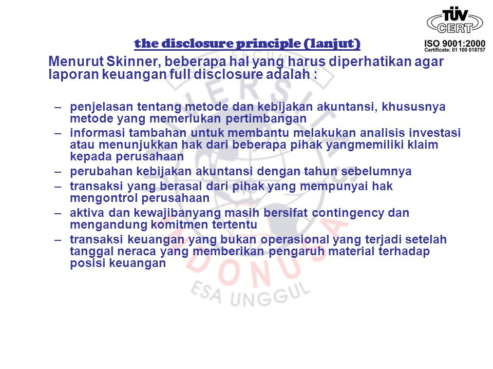 the disclosure principle (lanjut)
