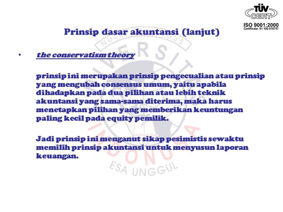 Prinsip dasar akuntansi (lanjut)