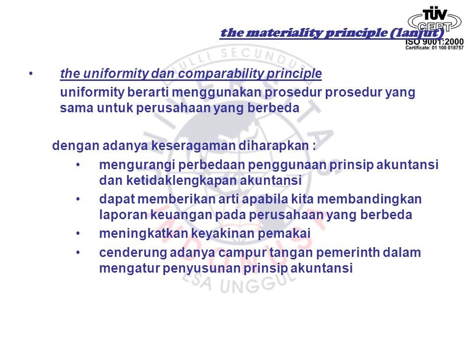 the materiality principle (lanjut)