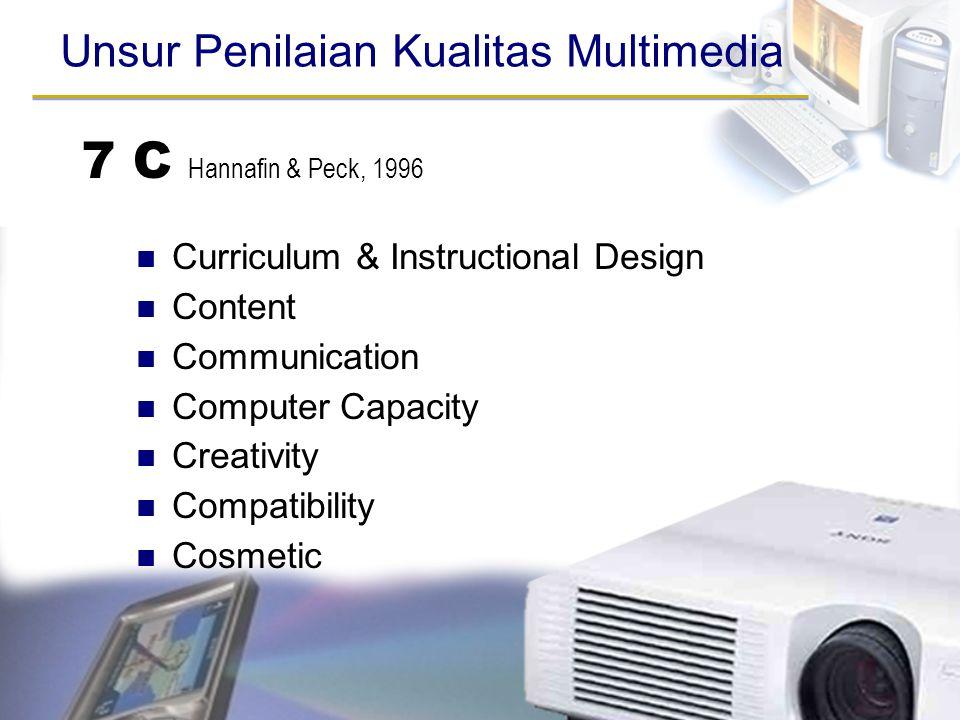 7 C Hannafin & Peck, 1996 Unsur Penilaian Kualitas Multimedia
