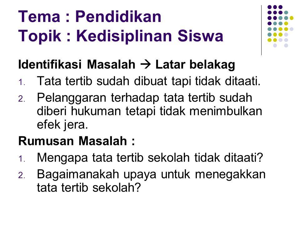 Tema : Pendidikan Topik : Kedisiplinan Siswa