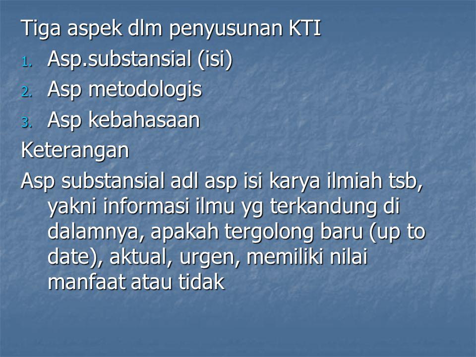 Tiga aspek dlm penyusunan KTI
