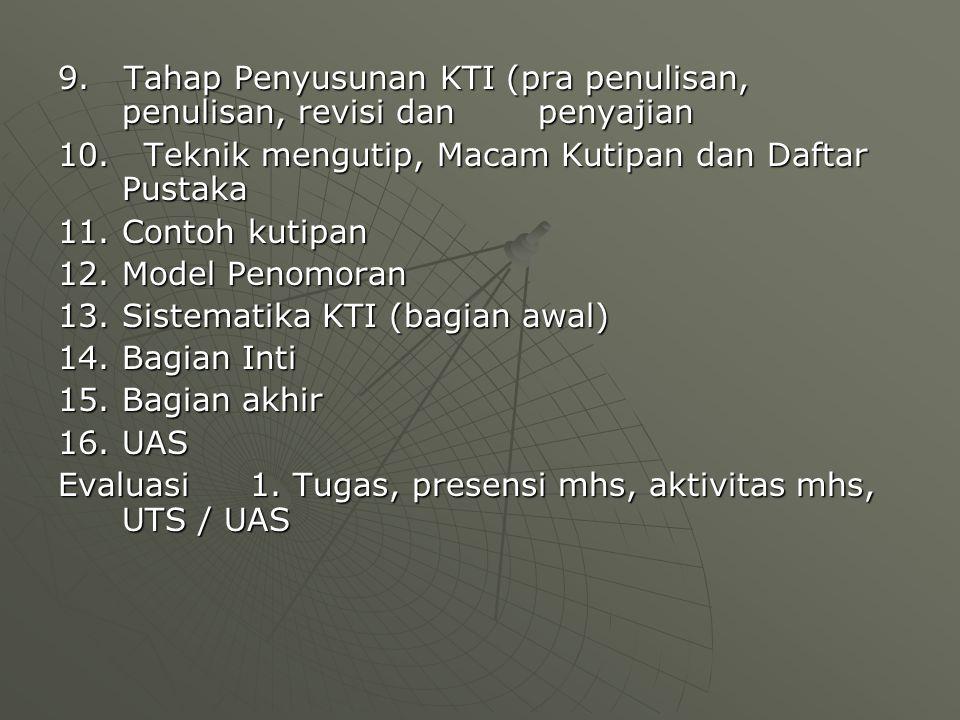9. Tahap Penyusunan KTI (pra penulisan, penulisan, revisi dan penyajian 10.