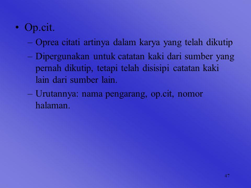 Op.cit. Oprea citati artinya dalam karya yang telah dikutip