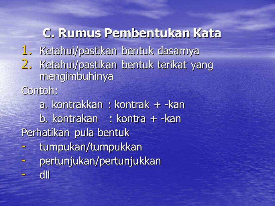 C. Rumus Pembentukan Kata