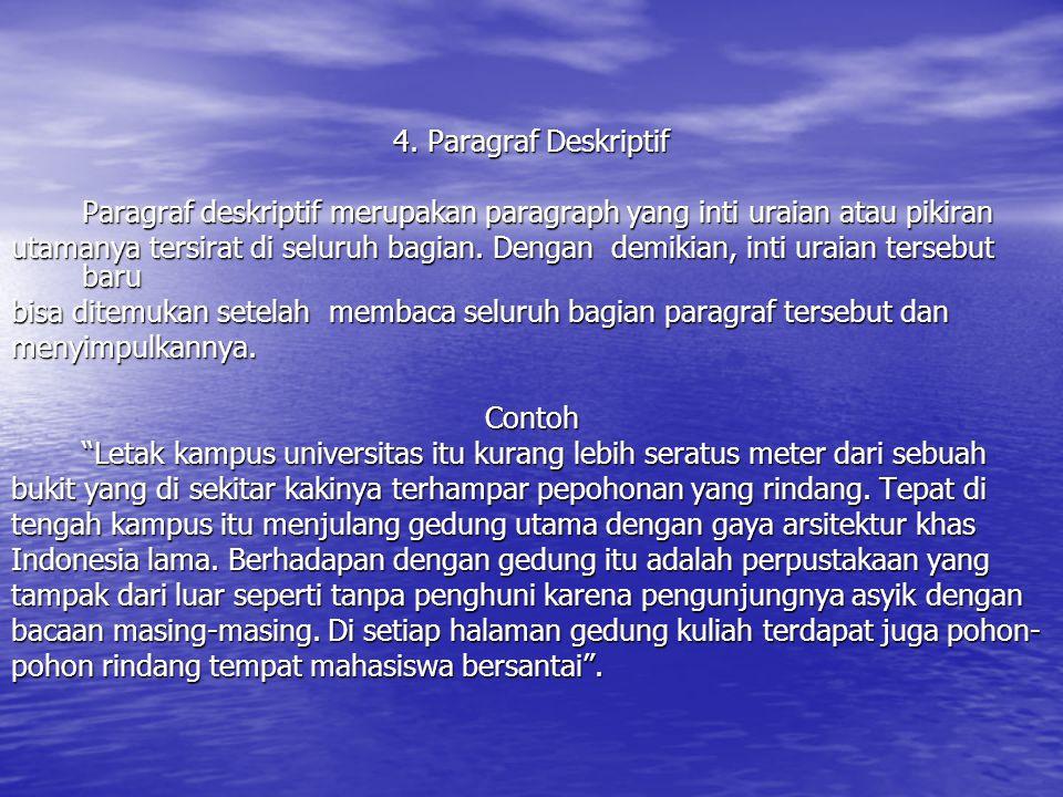 4. Paragraf Deskriptif Paragraf deskriptif merupakan paragraph yang inti uraian atau pikiran.