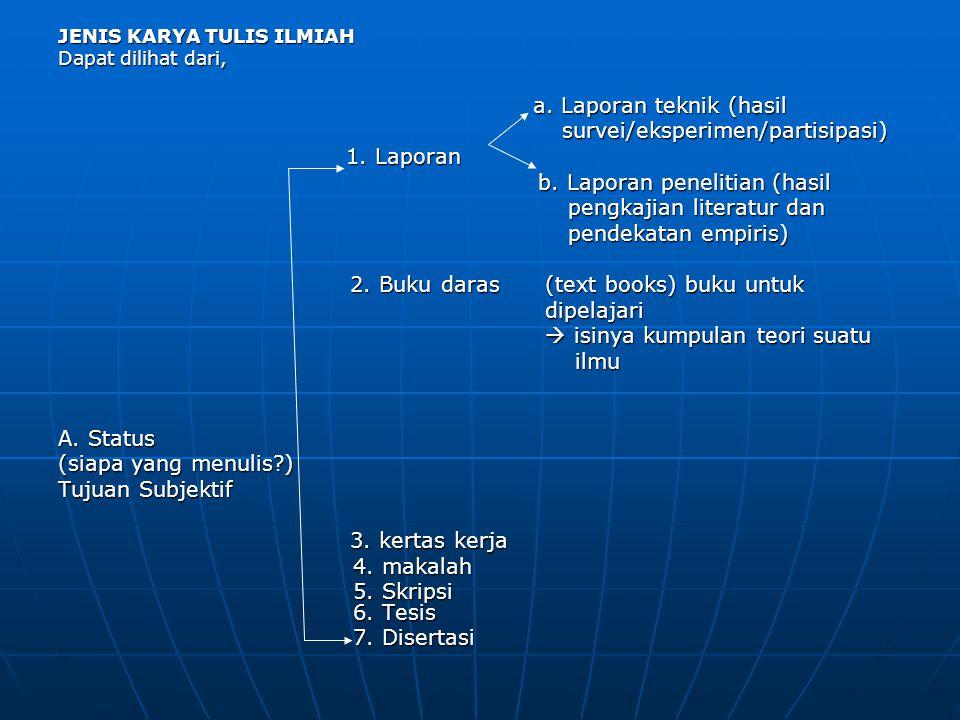 survei/eksperimen/partisipasi) 1. Laporan b. Laporan penelitian (hasil