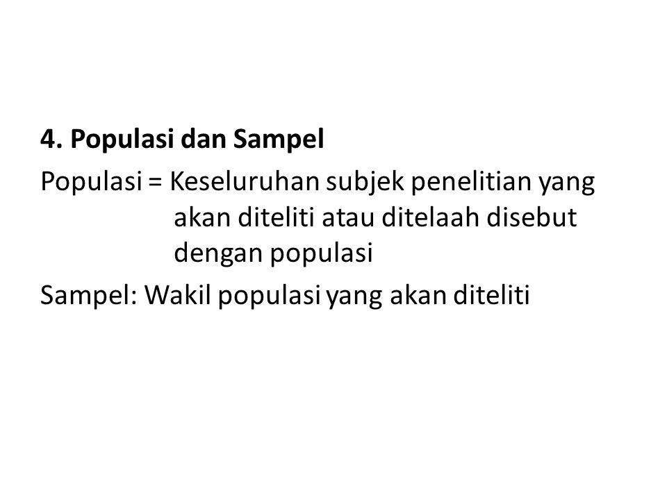 4. Populasi dan Sampel Populasi = Keseluruhan subjek penelitian yang akan diteliti atau ditelaah disebut dengan populasi.