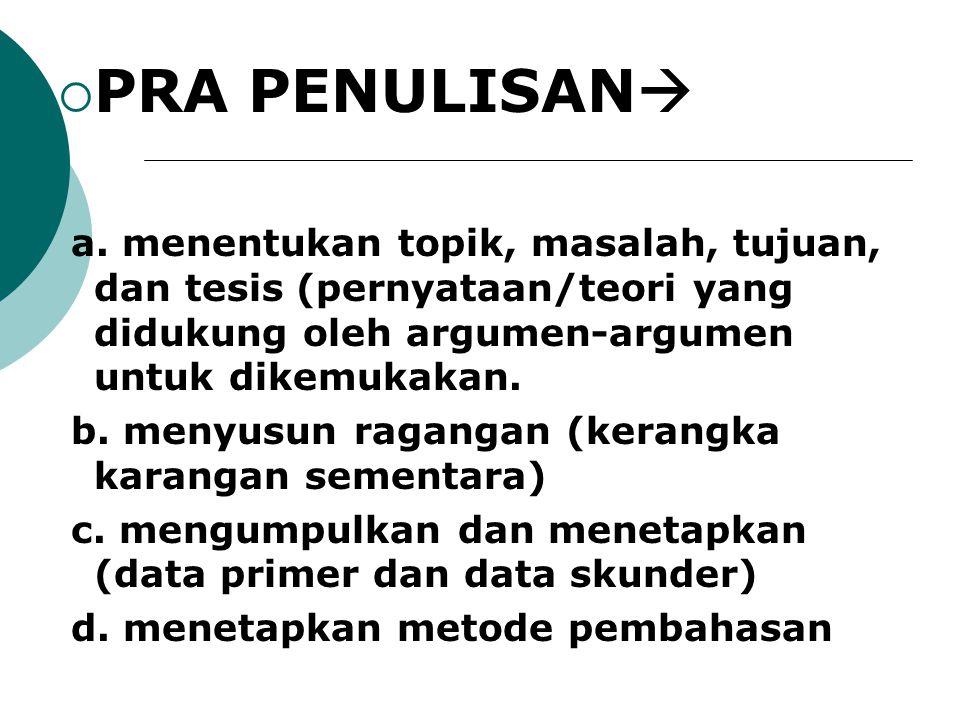 PRA PENULISAN a. menentukan topik, masalah, tujuan, dan tesis (pernyataan/teori yang didukung oleh argumen-argumen untuk dikemukakan.