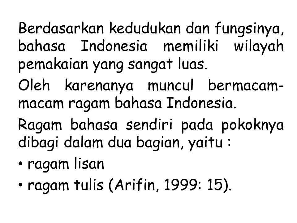 Berdasarkan kedudukan dan fungsinya, bahasa Indonesia memiliki wilayah pemakaian yang sangat luas.