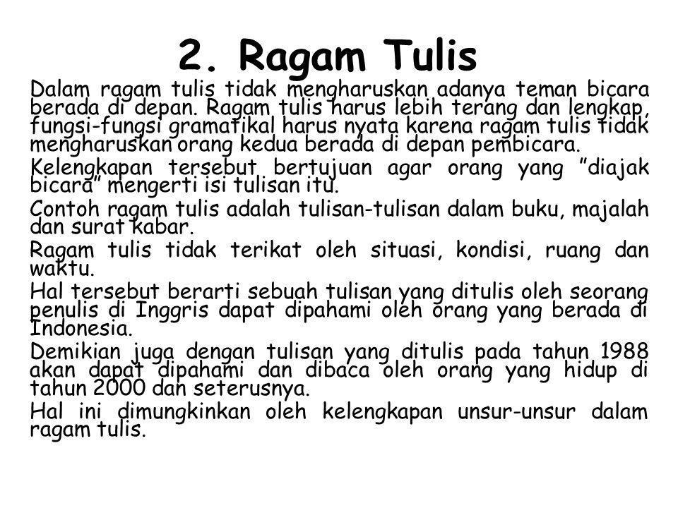 2. Ragam Tulis
