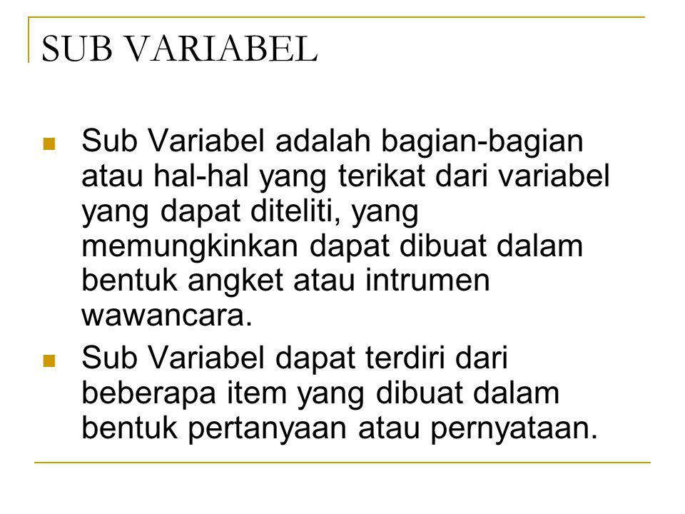 SUB VARIABEL