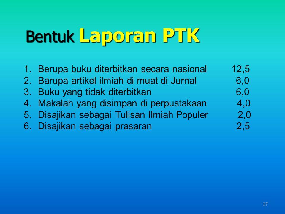 Bentuk Laporan PTK Berupa buku diterbitkan secara nasional 12,5