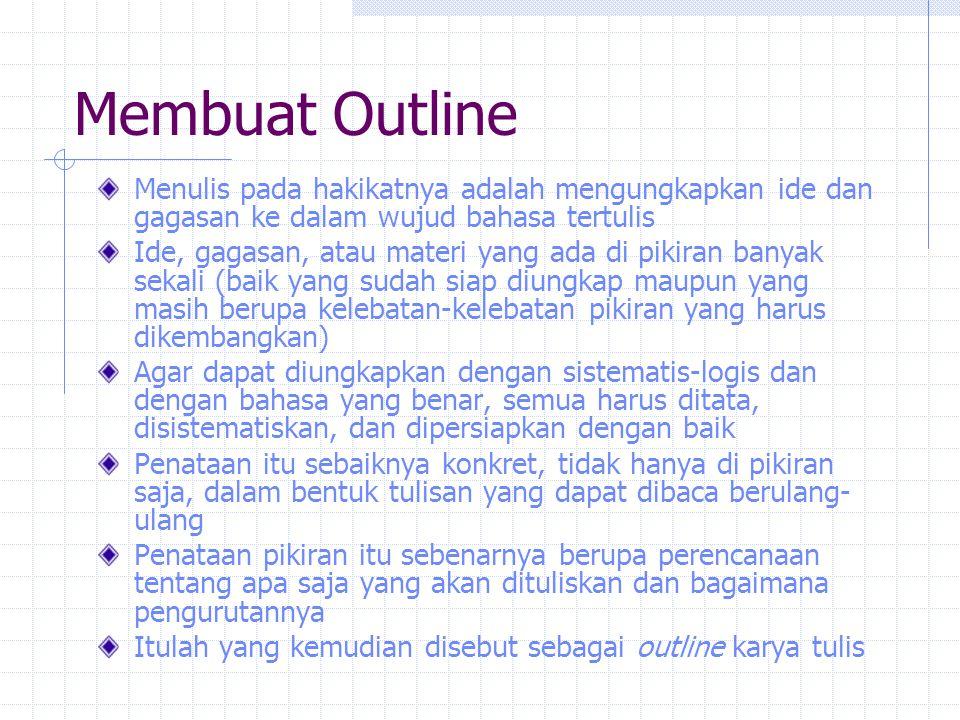 Membuat Outline Menulis pada hakikatnya adalah mengungkapkan ide dan gagasan ke dalam wujud bahasa tertulis.